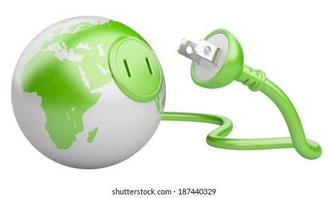 green energy concept. green Earth with  electric plug isolated on a white background