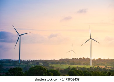 Green energy concept, eco power. Wind turbine located along the hill with the wind blowing all the time. Can produce renewable energy as well. Considered a clean energy.
