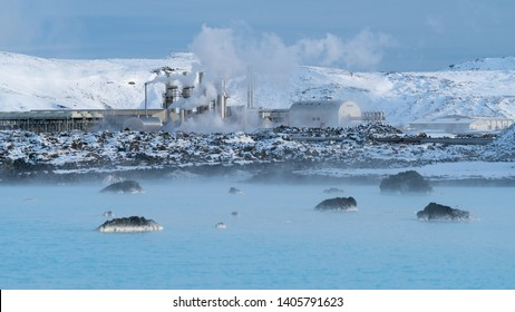 Green Energy, geothermal power plant of Grindavik during wintertime, Iceland
