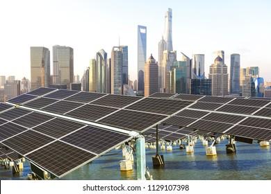 Green energy and sustainable development of solar energy with Shanghai bund Skyline