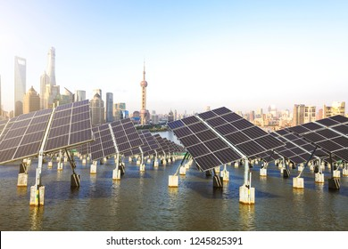 Green energy and sustainable development of solar energy with Shanghai bund Skyline