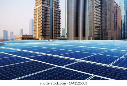 Green energy and sustainable development of solar energy with Shanghai bund panorama Skyline