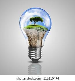 Green energy symbols, ecology concept, light bulb