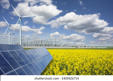 Green energy and transformer substation in a natural environment with blue sky and yellow field
