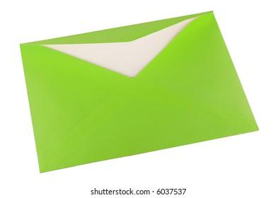 Green envelope to send correspondence