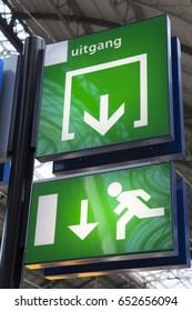 Green exit sign on a station
