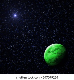 Green Exoplanet in the Deep Starry Universe