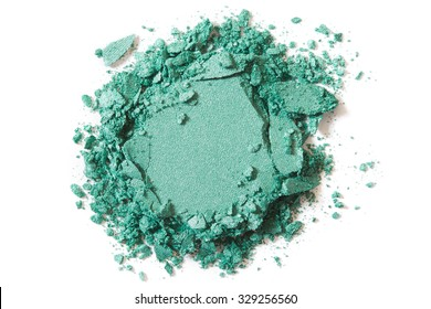 Green eye shadow crushed cosmetic isolated on white background