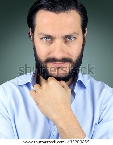 Green Eyes Black Hair Bear Male Stock Photo Edit Now 635209655