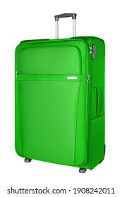 Green fabric travel suitcase with zipper, handle and lock white background isolated close up side view, large cloth baggage case, big textile luggage trolley bag, summer holidays, tourism, vacation
