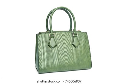 Green fashion purse handbag on white background isolated