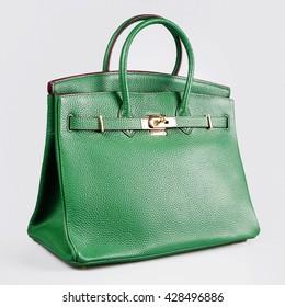 green female bag on a white background