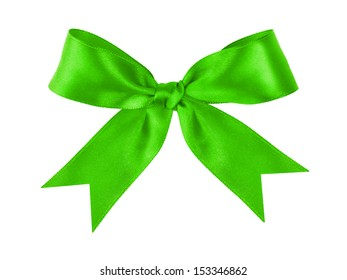 green festive tied bow made from ribbon, isolated on white
