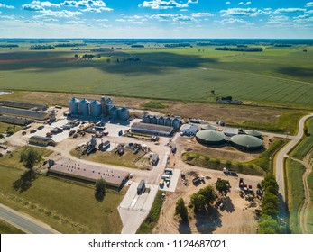 Green field. Agricultural , factory aerial view.
