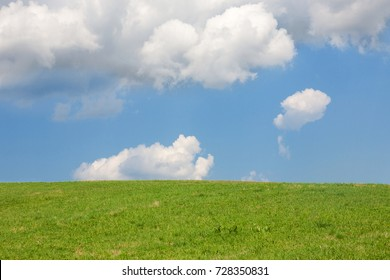 Green field and beautiful sky