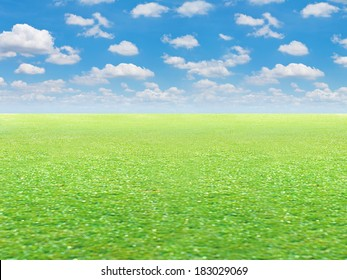 Green field and blue sky background only nobody