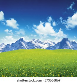 Green field and blue sky with white clouds, mountains in behind, alps