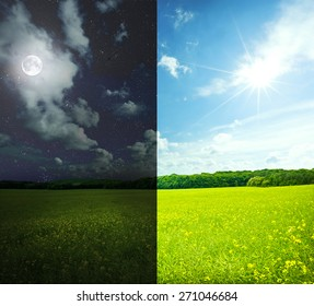 Green field in day and night. Elements of this image furnished by NASA