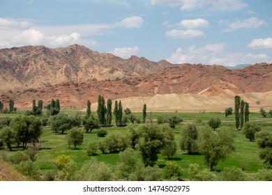 Green field and dried hills in anatolia,turkey