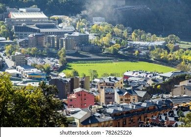 Green field in the middle of Andorra la vella city, Andorra.