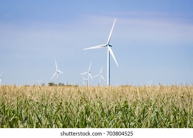 Green Fields With Out of Focus Wind Turbines in the Distance
