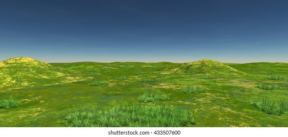 Green fields with two hills and green. Daytime. Summer. Clear sky. 3D rendering, 3D illustration