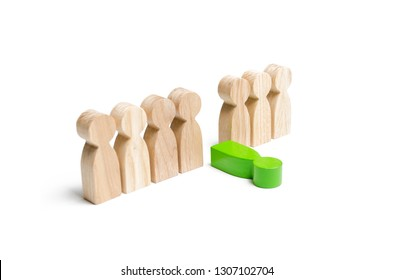 The green figure of a man falls out of the line of people. Moral and physical exhaustion, weak link. The dismissal of an employee. Toxic and ineffective. ill. The concept of stress and burnout at work