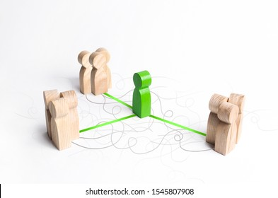 The green figure of a mediator connects three groups of people. Mediation Service. Establishing contact and dialogue, increasing mutual understanding and the effectiveness of the negotiation process.