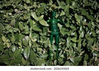 A green figure in nature