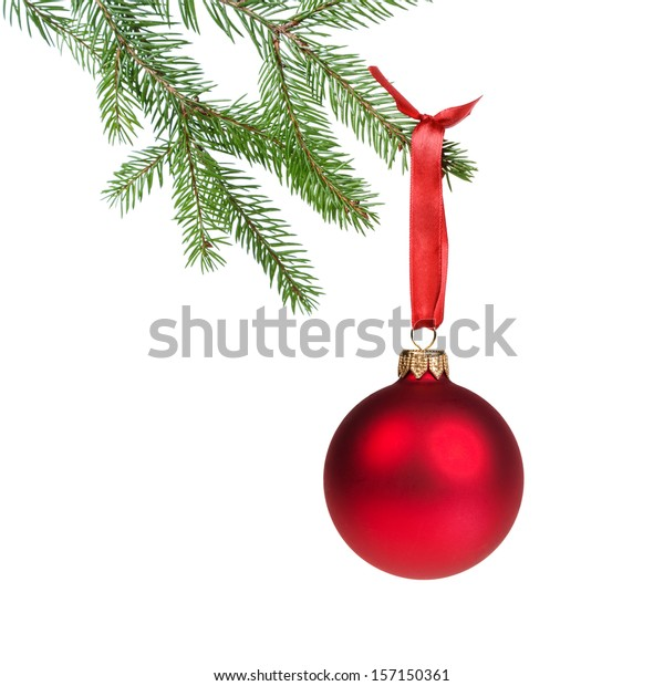 green fir branch with red christmas ball, isolated on white
