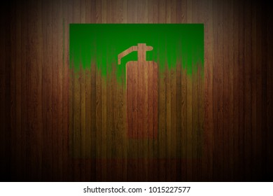 green fire extinguisher sign painted on vertical glossy wood planks texture background