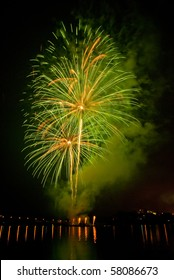 Green fireworks on Brno dam