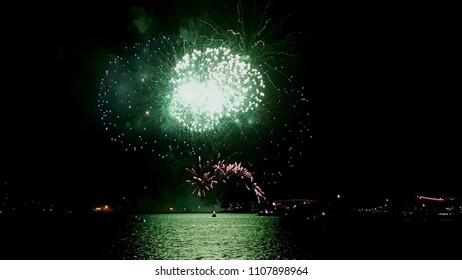 green fireworks Sydney harbor