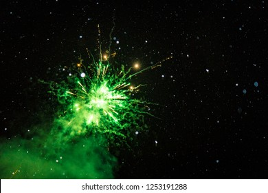 Green fireworks at winter
