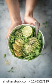 Green Fitness Breakfast Veggie Bowl with Falafel and Avocado