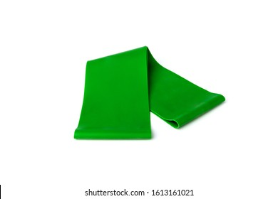 Green fitness elastic band for sport isolated on white background.