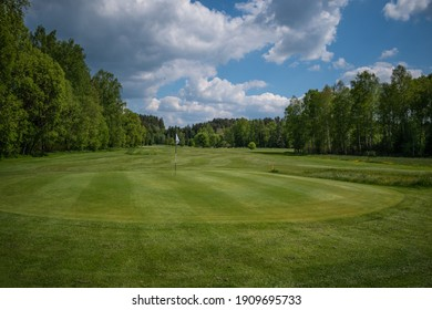 Green with flag on golf course