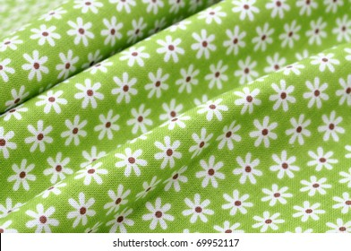 Green floral fabric in full frame