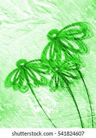 green floral style smoke line ornament background, flower abstract