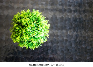 Green flowers in glass vase in vintage tone on glass table.