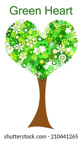 Green flowers heart and tree. Green Heart concept.
