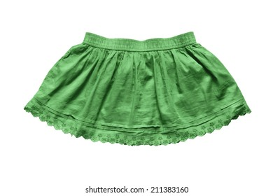 Green fluffy mini skirt with lacy border isolated over white
