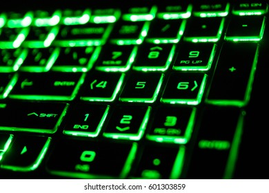 the green fluorescent computer keyboard