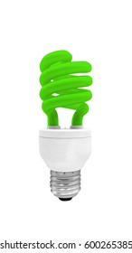 Green Fluorescent Light Bulb isolated on white background with clipping path