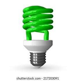 Green fluorescent light bulb standing, 3d render isolated on white