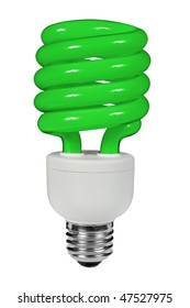 Green Fluorescent lightbulb isolated over white with a clipping path