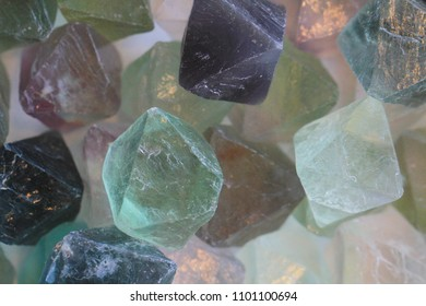 green fluorite mineral collection as very nice natural background