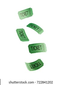 Green flying tickets isolated against white background
