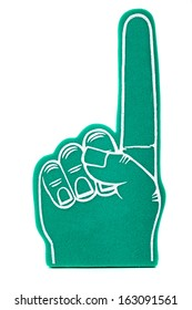 a green foam fan finger on a white background