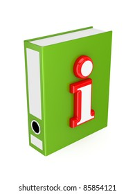 Green folder with red Info symbol.3d rendered. Isolated on white background.
